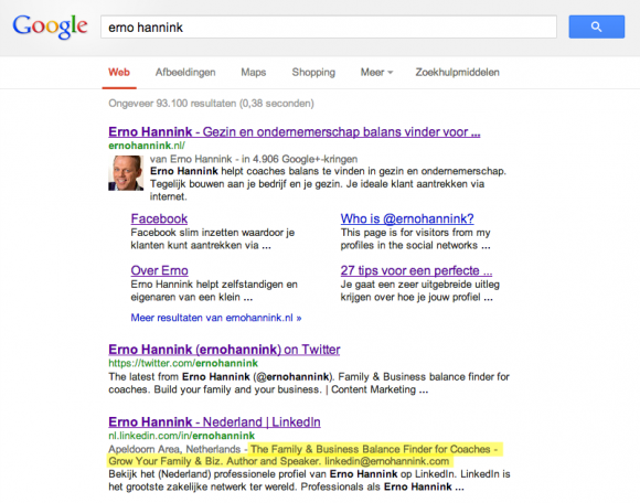 linkedin in zoekresultaten 580x456 Compleet profiel op nieuwe LinkedIn in 13 stappen