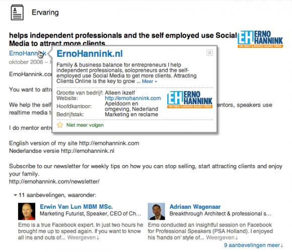 linkedin bedrijfsprofiel in profiel 580x501 LinkedIn Bedrijfsprofiel voor jouw bedrijf