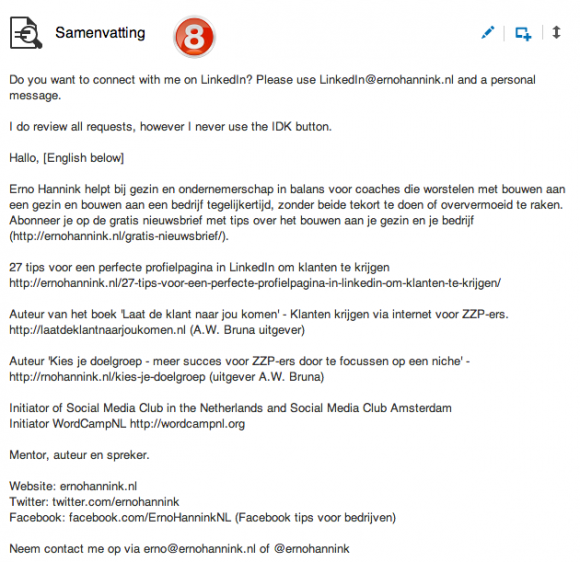 linkedin profiel samenvatting specialiteiten 580x562 Weg met de saaie LinkedIn Samenvatting