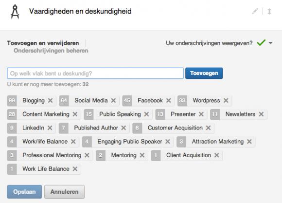 linkedin vaardigheden bewerken 580x417 Compleet profiel op nieuwe LinkedIn in 13 stappen