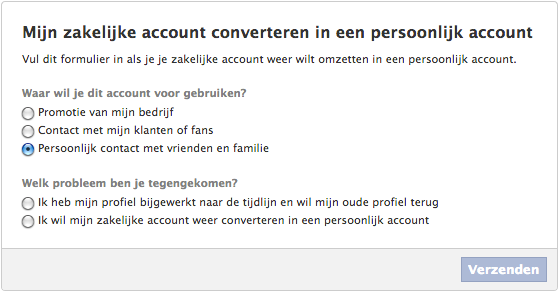 zakelijk profiel naar persoonlijk profiel3 Facebook zakelijk account veranderen naar persoonlijk profiel