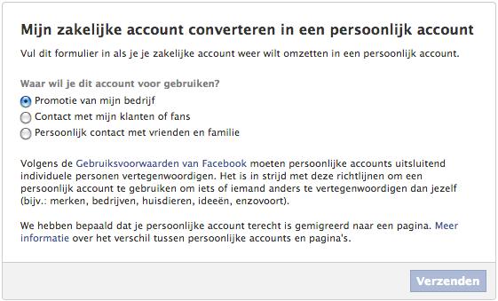 zakelijk profiel naar persoonlijk profiel2 Facebook zakelijk account veranderen naar persoonlijk profiel