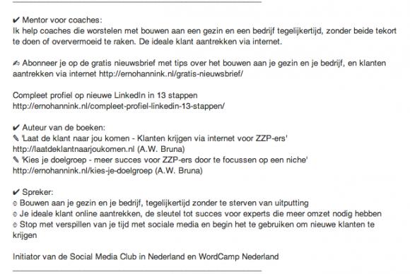 linkedin profiel samenvatting2 580x388 Weg met de saaie LinkedIn Samenvatting