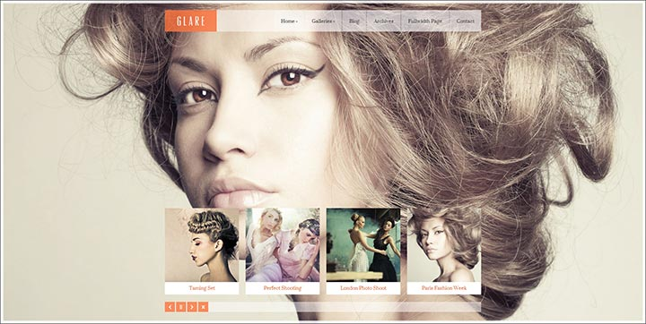 glare simple responsive wordpress theme