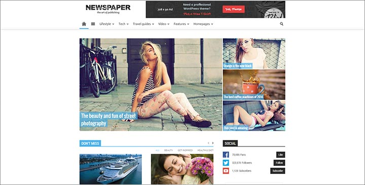 newspaper simple responsive wordpress theme