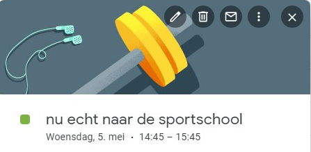 calendar google sportschool