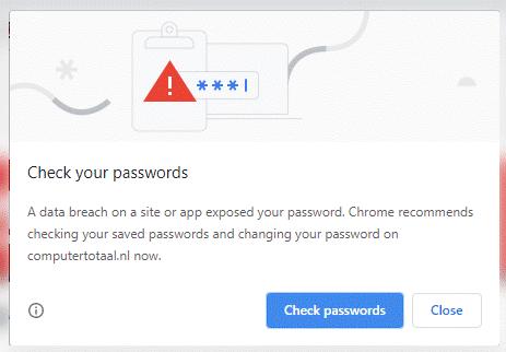 chrome melding wachtwoord gelekt
